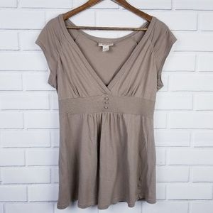 🛍️3/$25 Sleeveless V-neck Brown Tunic Self-Esteem